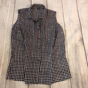 Black and white checked sleeveless top